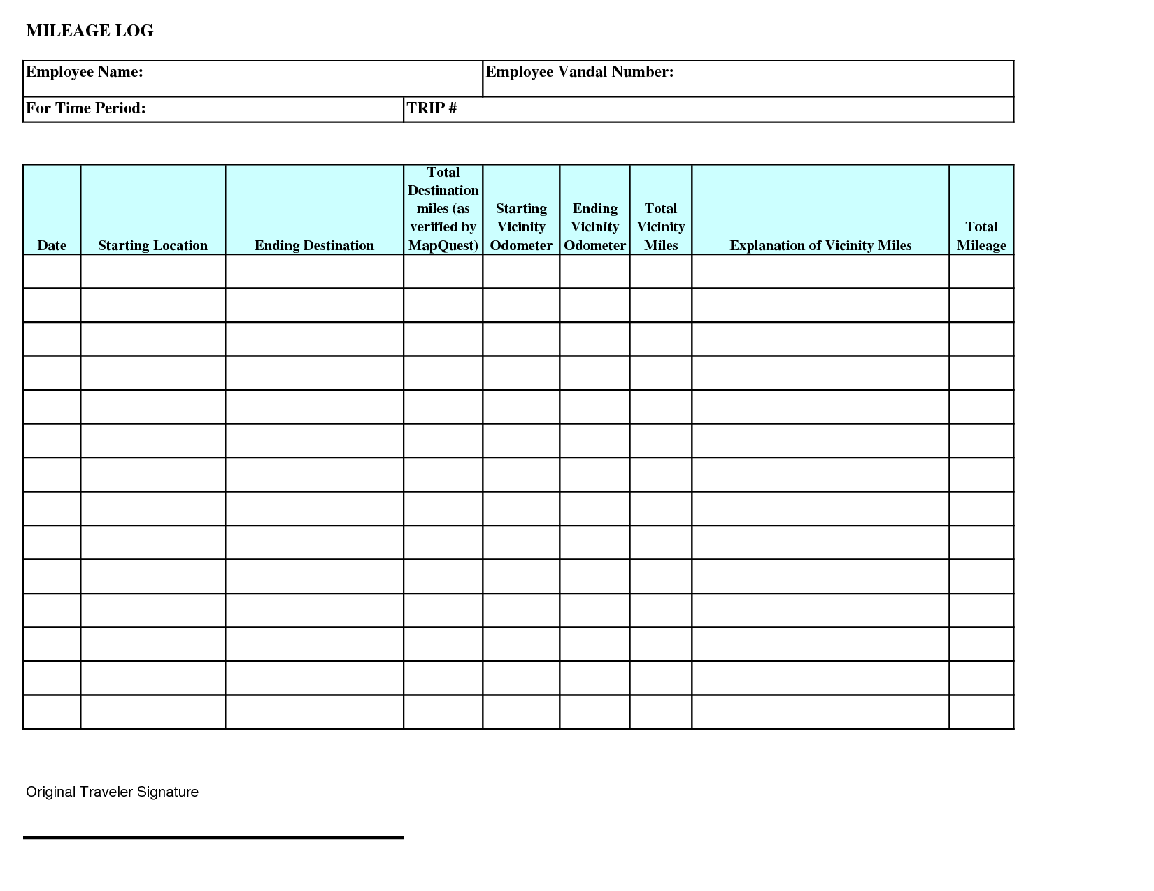 26 Printable Mileage Log Examples In