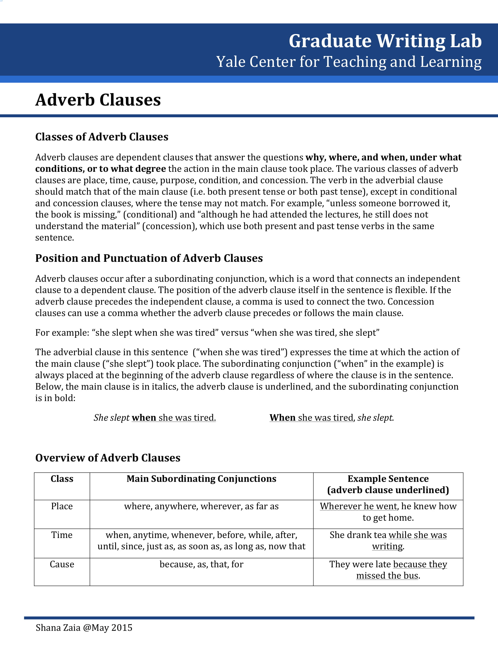 Adverb Clause Guide Example