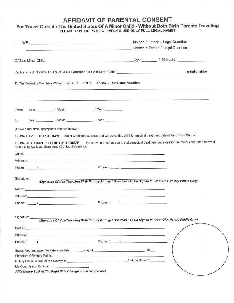 affidavit of consent to travel   tourismstyle co
