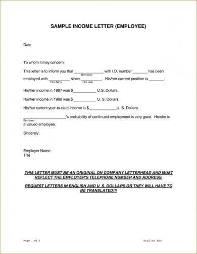 9 Income Verification Letter Examples