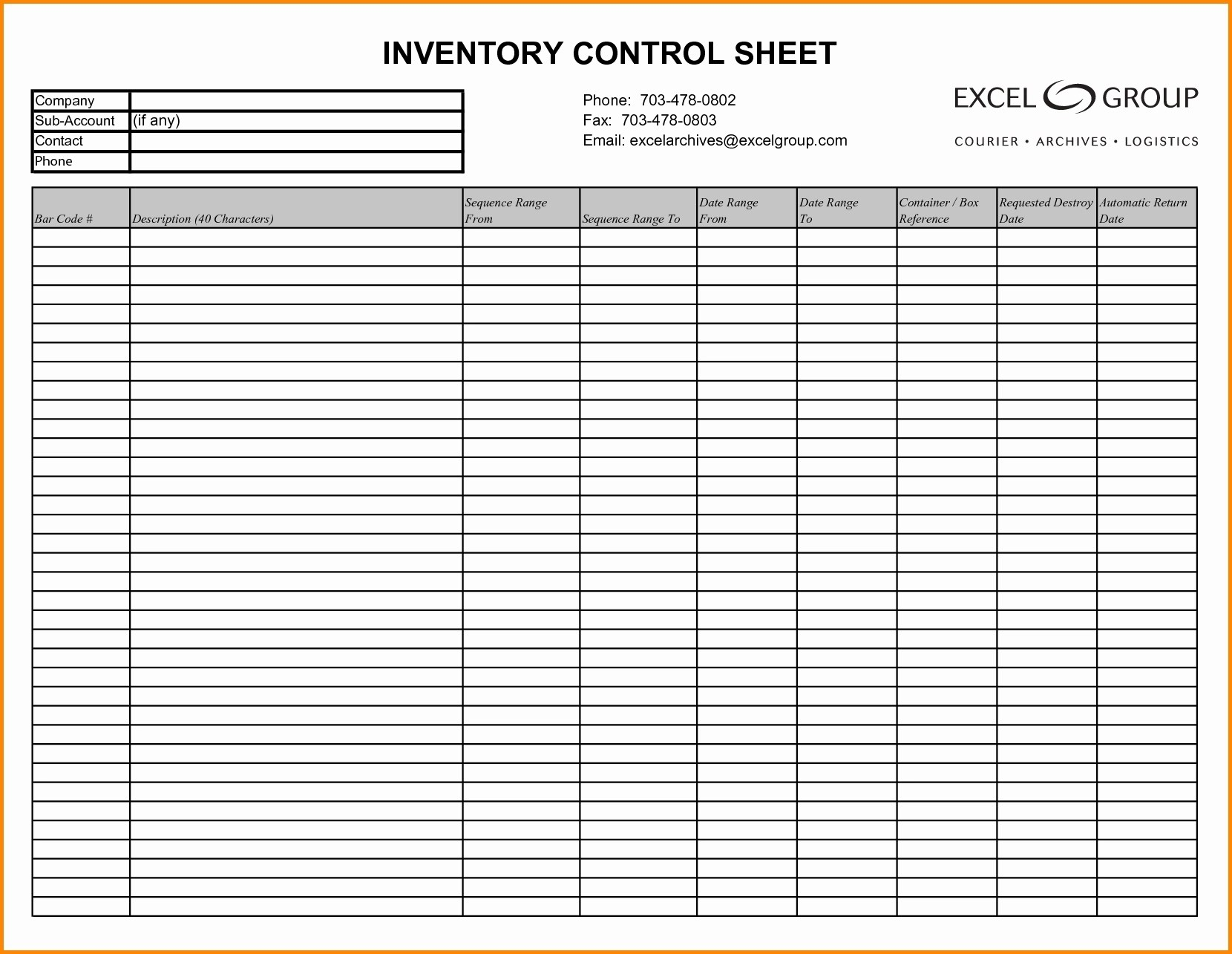 Inventory Control Sheet Sample