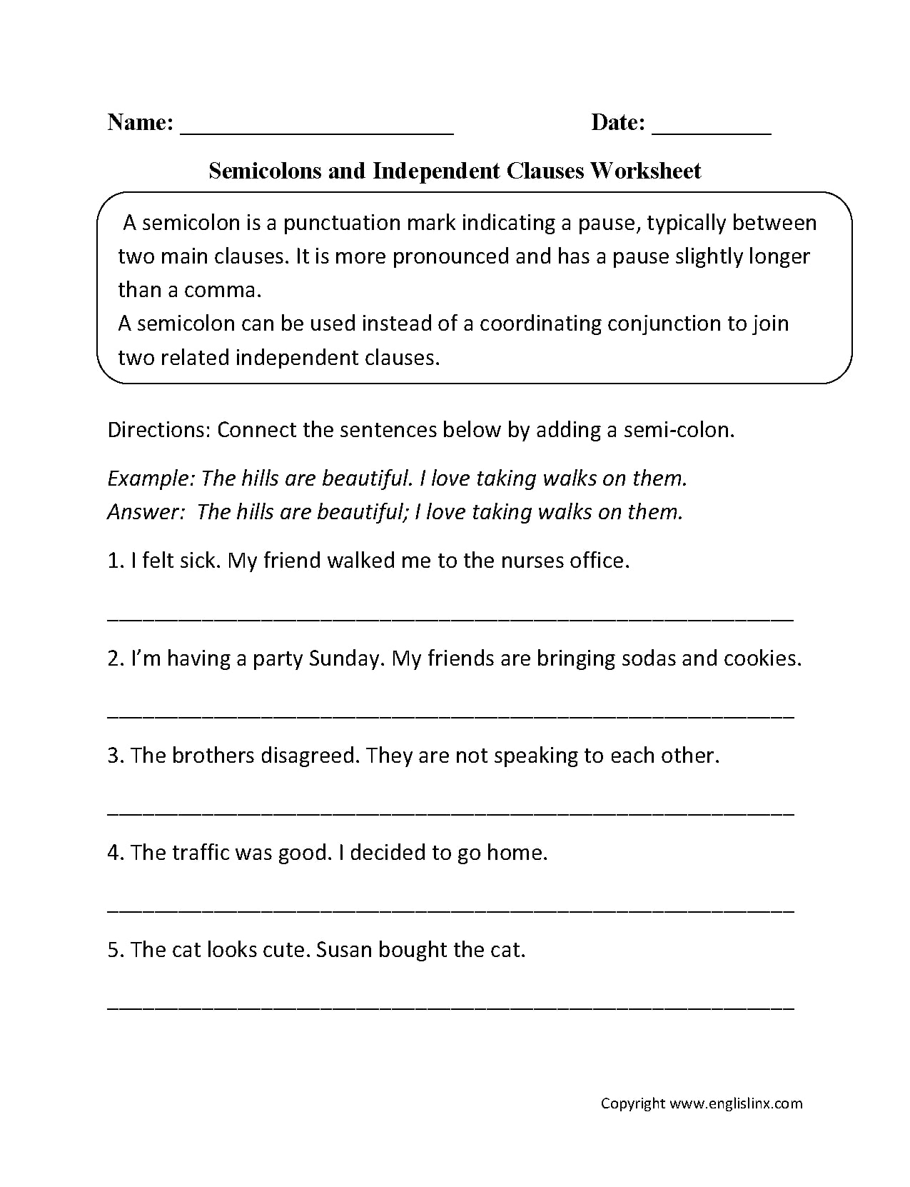 Semicolon And Independent Clause Worksheet Example
