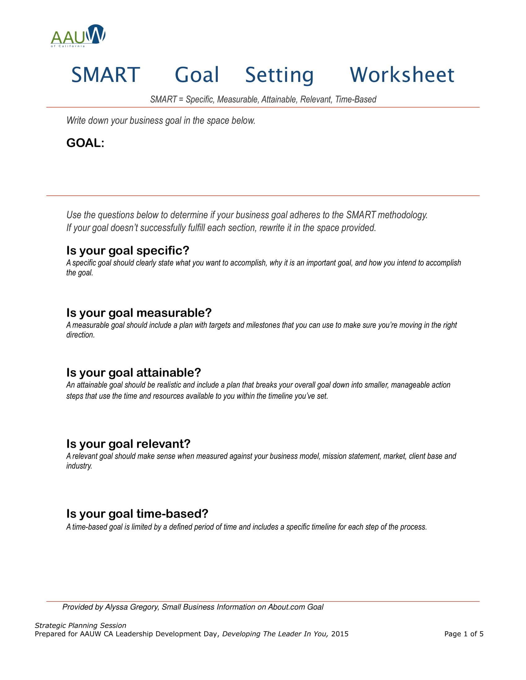 Nwea Goal Setting Worksheet Example