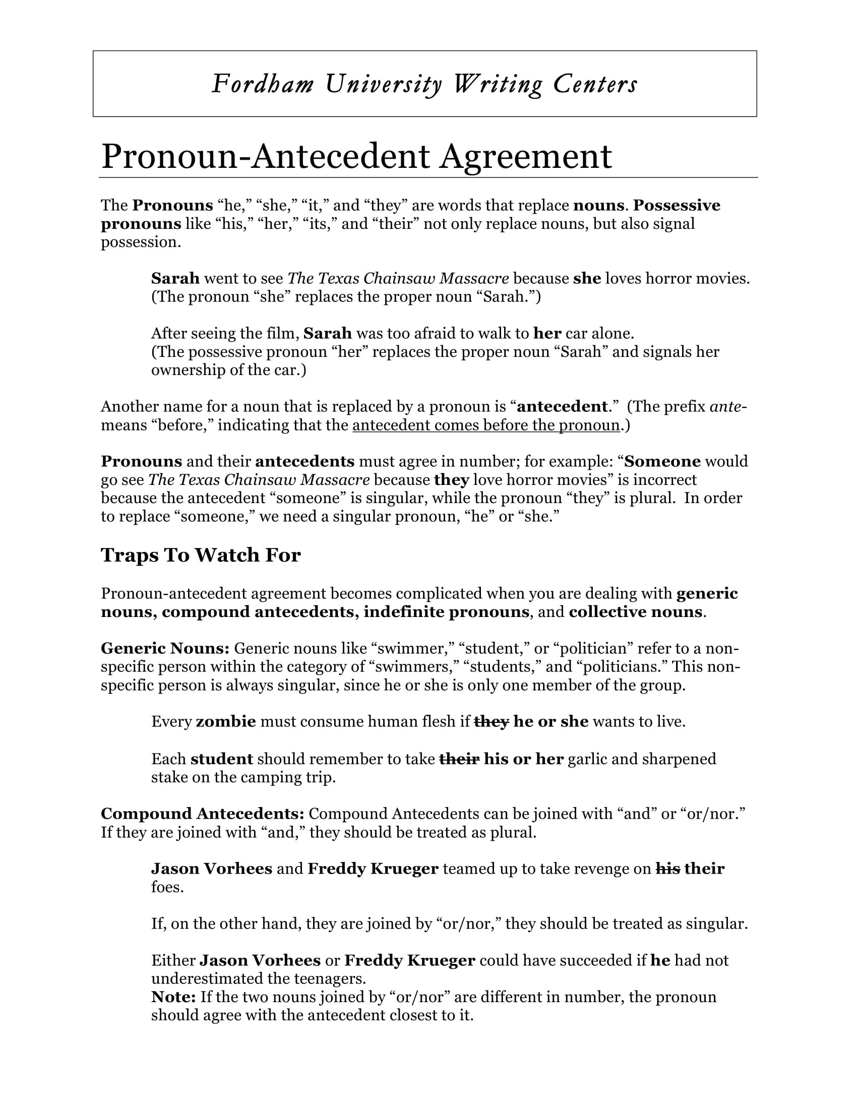 Pronoun Antecedent Agreement Reference Sheet Example
