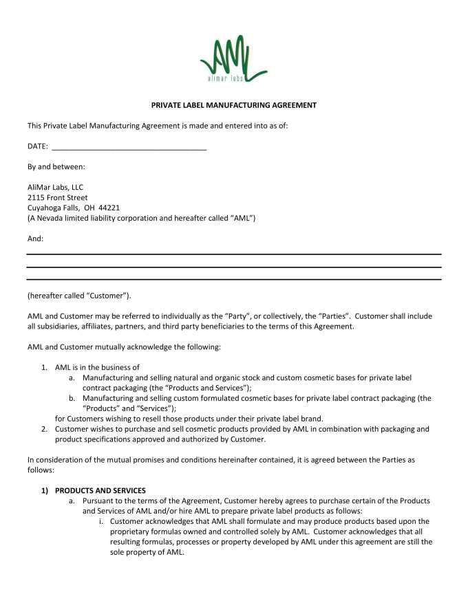 Manufacturing Agreement Template Save Template