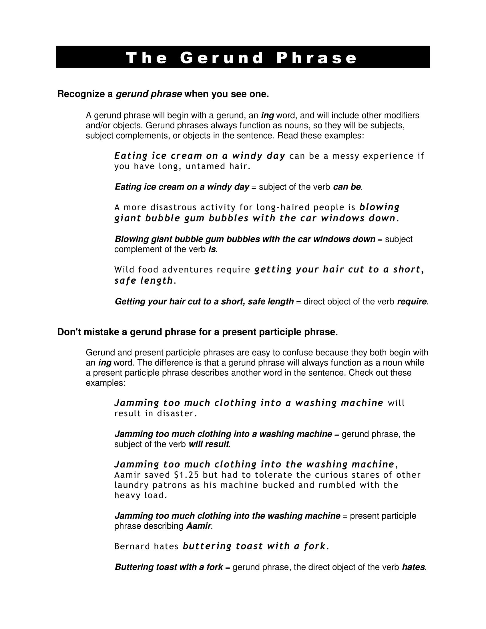 9 Gerund Phrase Examples