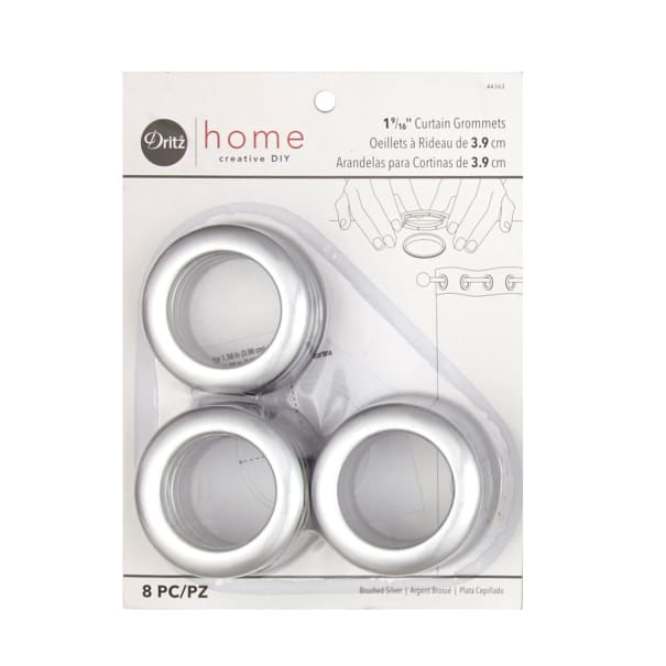curtain grommets 8 pack brushed silver 1 9 16