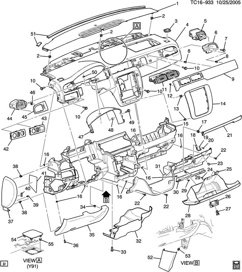 Chevrolet Silverado Interior Parts Diagram