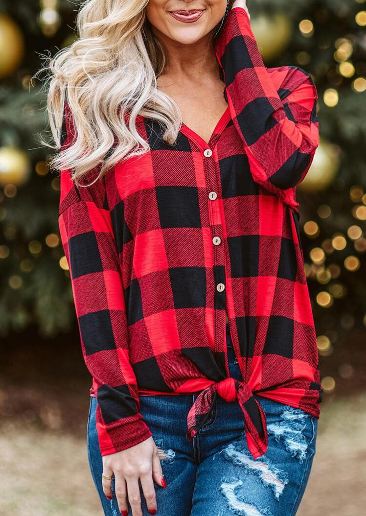Blouses Plaid Splicing Button Long Sleeve Blouse in Red. Size: S,M,L,XL
