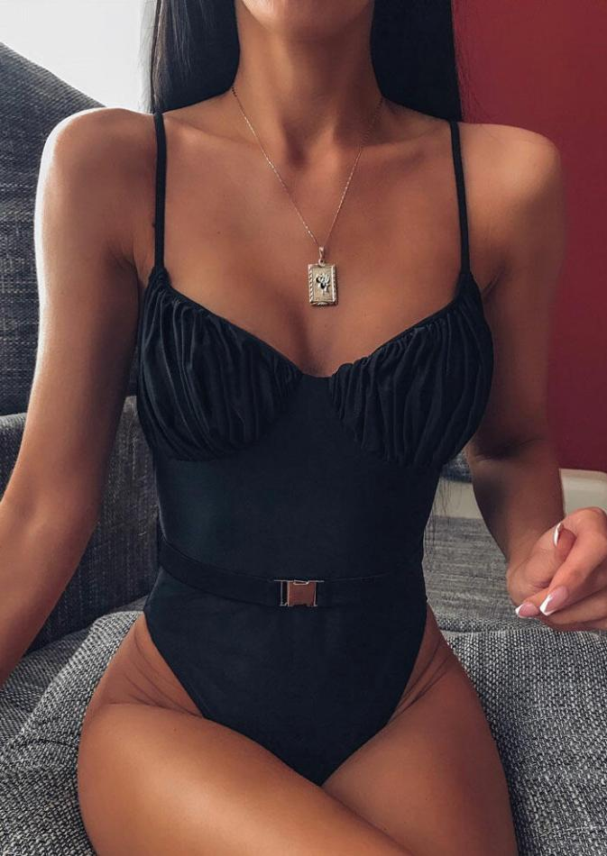 One-Pieces Ruffled Spaghetti Strap One-Piece Swimsuit without Necklace in Black. Size: S,M,L