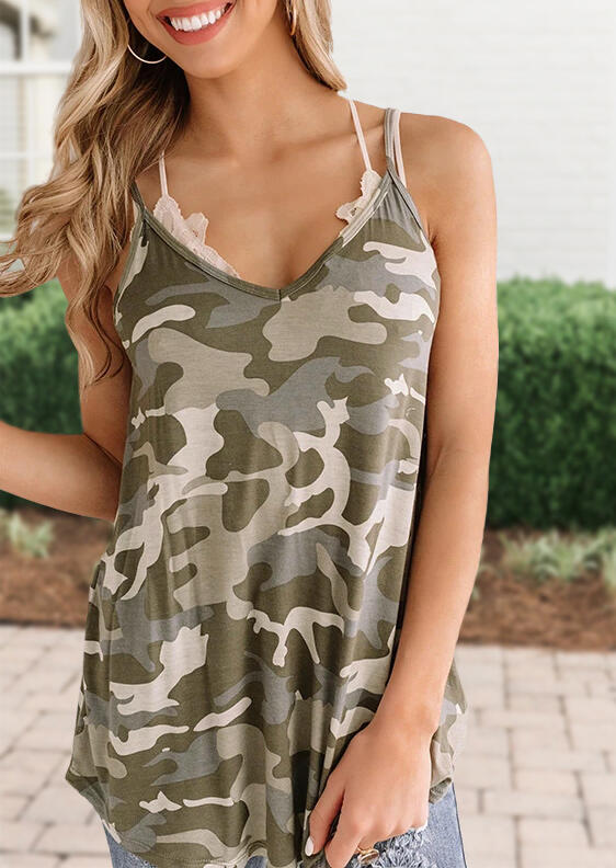 Tank Tops Camouflage V-Neck Casual Camisole in Camouflage. Size: M