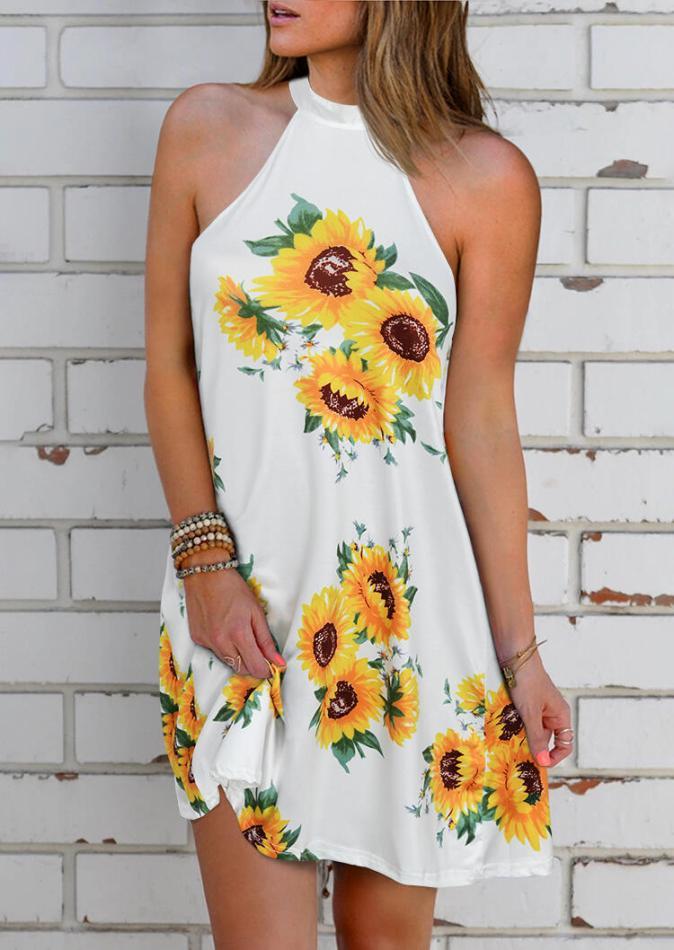 Mini Dresses Sunflower Open Back Halter Mini Dress in White. Size: S,M,L,XL
