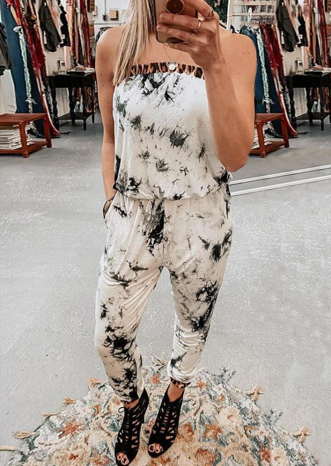 Jumpsuits & Rompers Tie Dye Leopard Splicing Sleeveless Jumpsuit without Necklace in White. Size: S,M,L,XL