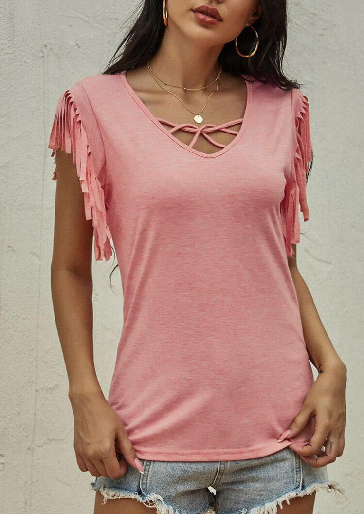 Blouses Hollow Out Tassel Blouse without Necklace in Pink. Size: M,L