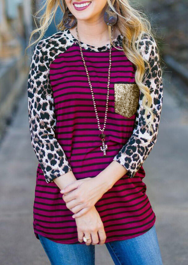 Tees T-shirts Leopard Striped Sequined Pocket T-Shirt Tee in Stripe. Size: S,M,L,XL