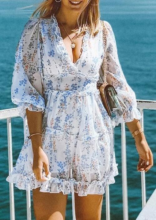 Mini Dresses Floral Ruffled Open Back Zipper Mini Dress in White. Size: S,M,L,XL