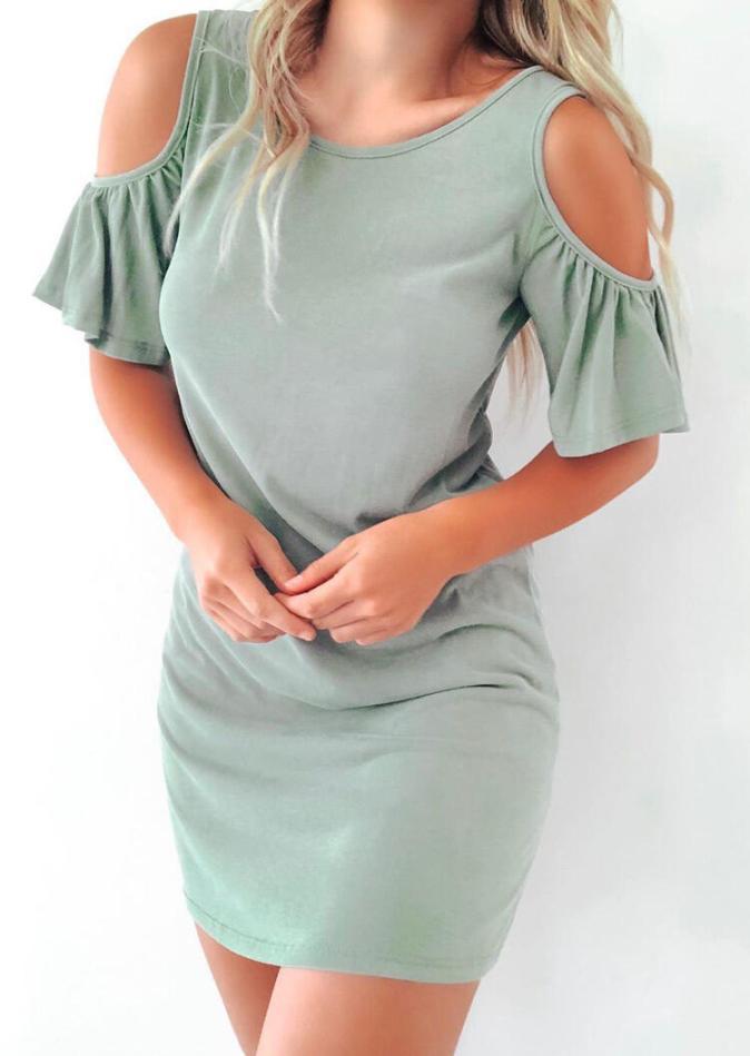 Mini Dresses Presale - Hollow Out Criss-Cross Ruffled Mini Dress in Light Green. Size: S,M,L,XL