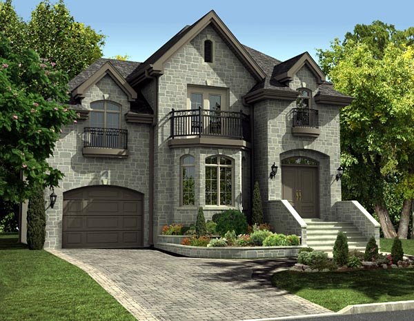 European Style House Plan 48058 with 3 Bed 2 Bath