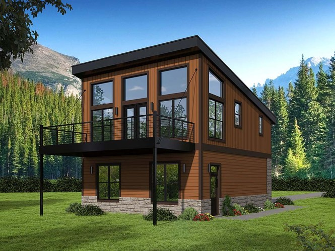Modern Style 2 Car Garage Apartment Plan Number 51652 With 1 Bed Bath