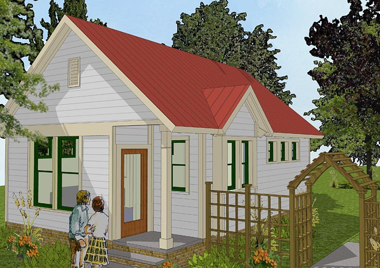 House Plan 56581 at FamilyHomePlans com Bungalow Cabin Cottage Traditional House Plan 56581 Elevation