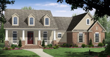 House Plan 59104 at FamilyHomePlans com Cape Cod Craftsman Traditional House Plan 59104 Elevation