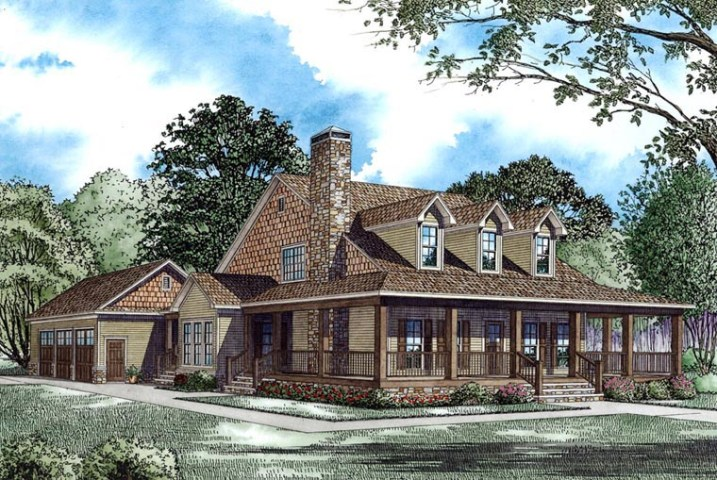 House Plan 62207 at FamilyHomePlans com Country Farmhouse House Plan 62207 Elevation