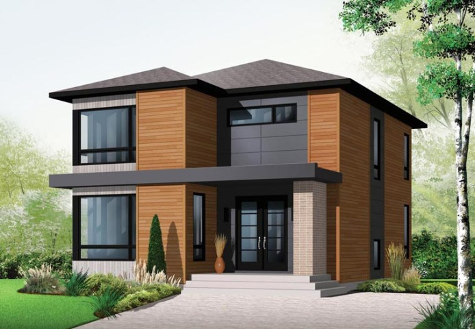 House Plan 76317 at FamilyHomePlans com Contemporary Modern House Plan 76317 Elevation