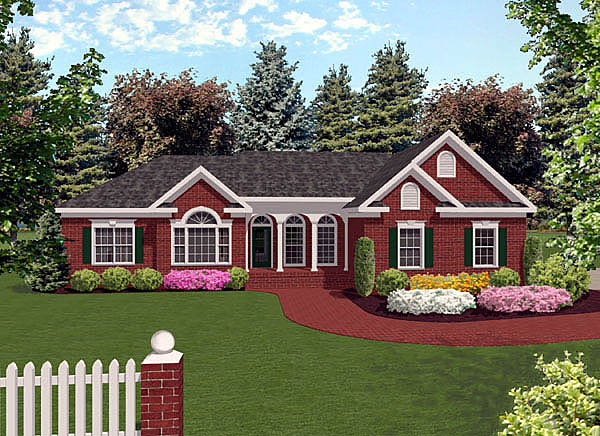 European Ranch Traditional Style Plan