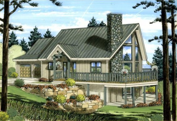 House Plan 99943 at FamilyHomePlans com A Frame House Plan 99943 Elevation