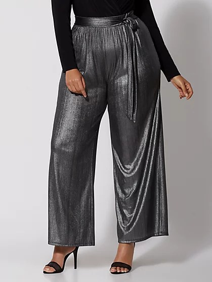 Metallic Tie-Waist Pants