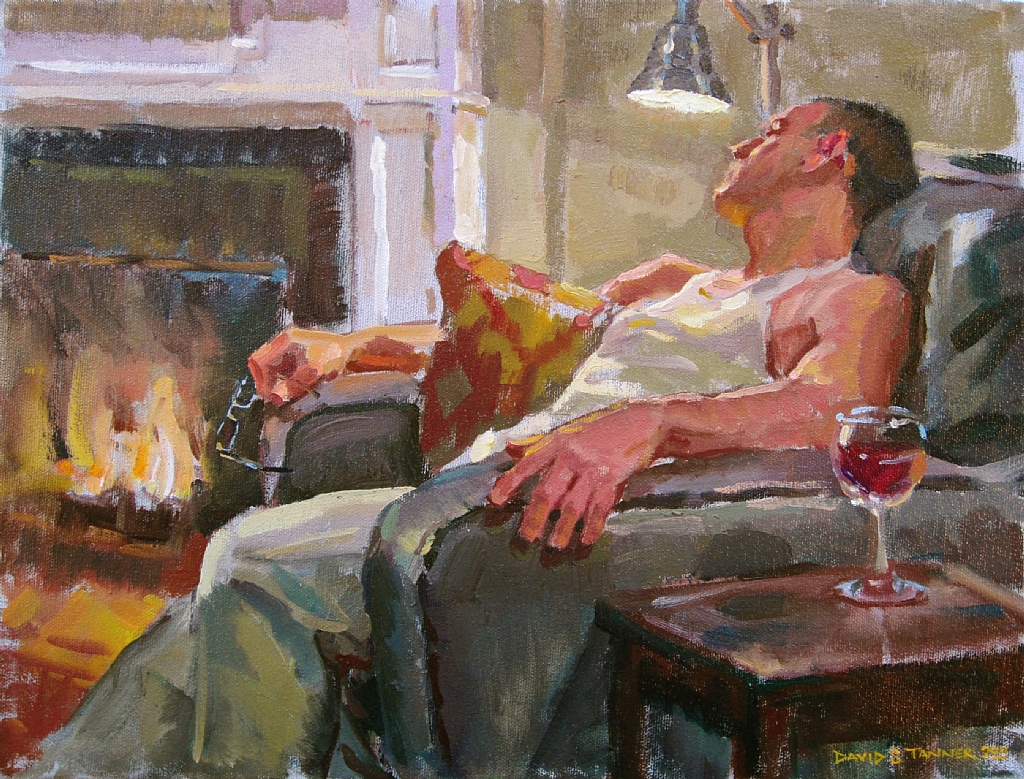 Man Relaxing on Chair Painting