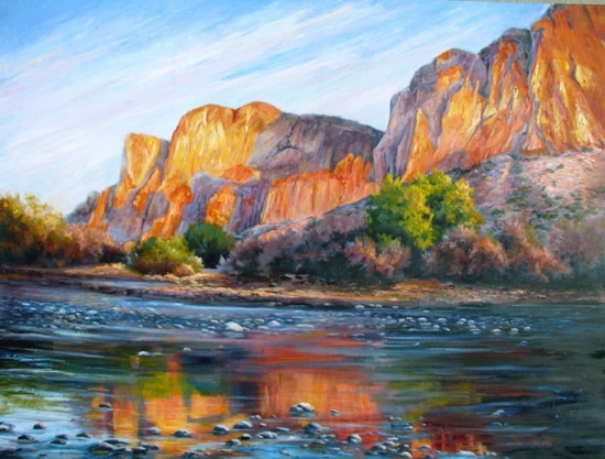Saquaro Canyon at Sunset by gabriele baber Oil ~ 36 x 48