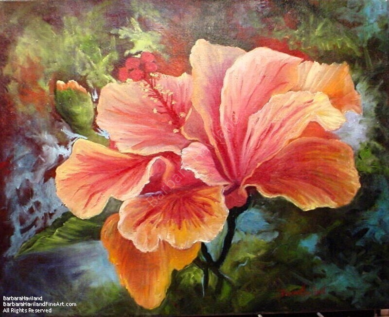 Peach Hibiscus oil painting