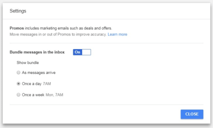 Inbox can identify certain types of emails and then show them to you in clusters periodically.