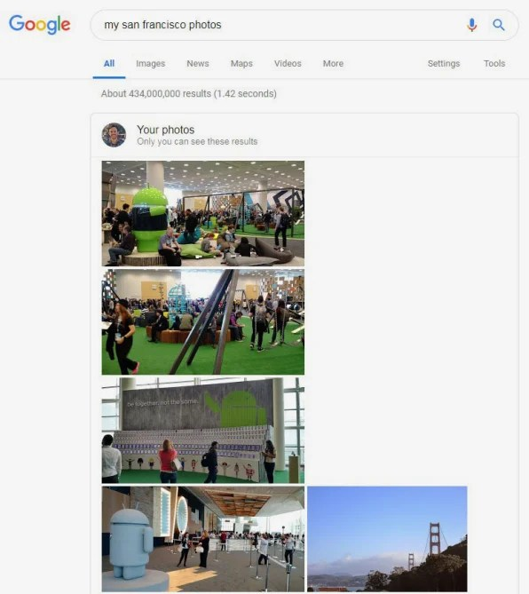 Quickly find photos featuring a particular time, place, subject, or event by searching directly in Google Search.