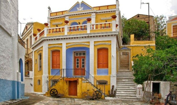 κίτρινο, μπλε, κόκκινο, νεοκλασικό κτήριο, Σύμη, σκαλιά, αρχιτεκτονική