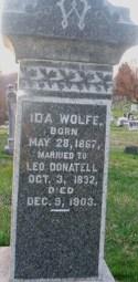 Head stone inscription of Ida Wolfe Donatell