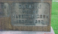 Headstone Inscription of Sarah Hull Cork