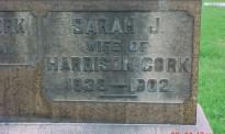 Headstone Inscription of Sarah Hull Cork