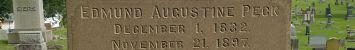 Headstone inscription of Edmund Augustine Peck