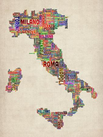 Text Map Of Italy Map Digital Art by Michael Tompsett Map Of Italy Digital Art   Text Map Of Italy Map by Michael Tompsett
