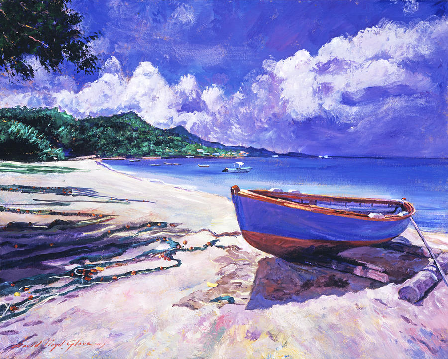 Blue Boat And Fishnets Painting By David Lloyd Glover