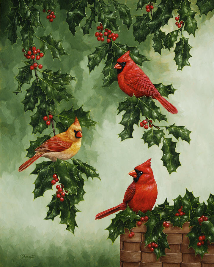Cardinals And Holly Version Without Snow Painting By