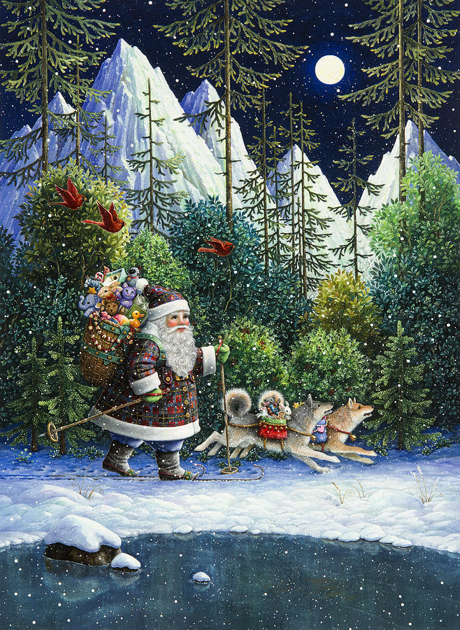 Cross Country Santa Painting By Lynn Bywaters