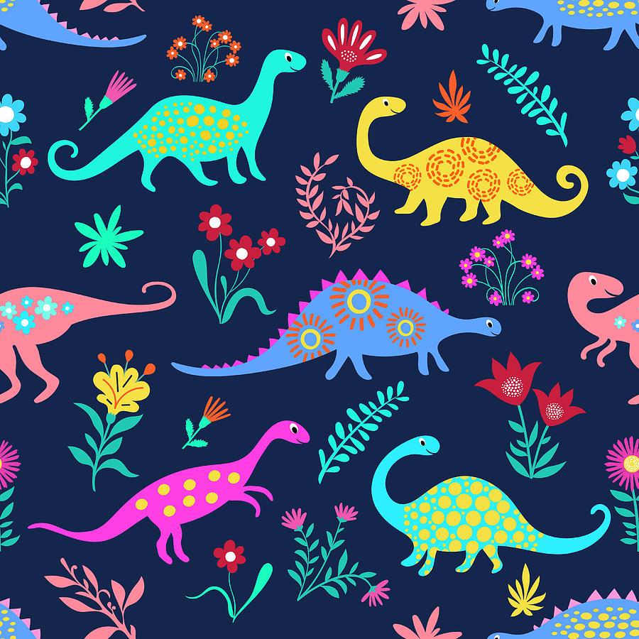 Dinosaurs Cute Kids Pattern For Girls By Dudi Art