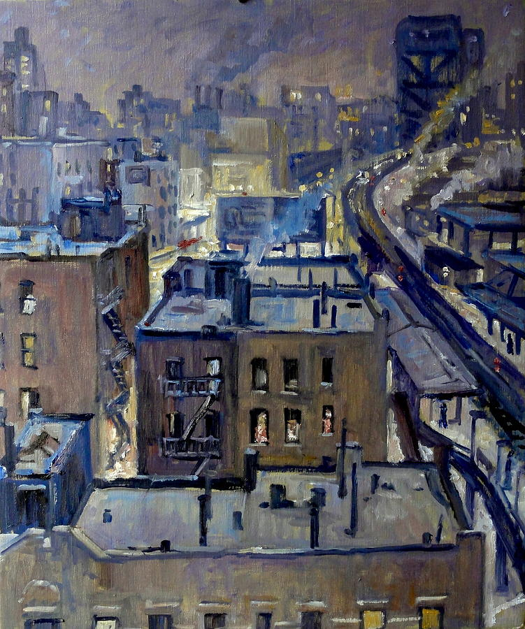 Evening Snow On Broadway Nyc Painting by Thor Wickstrom Oil Painting   Evening Snow On Broadway Nyc by Thor Wickstrom