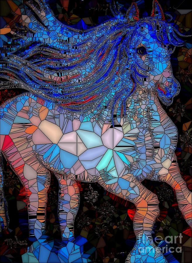 Fantasy Horse Mosaic Blue Painting By Saundra Myles