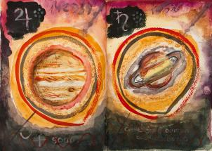 Jupiter and Saturn - Forgotten Book Painting by Monika Wisniewska