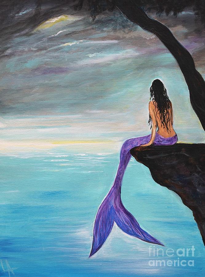 Mermaid Oasis Painting By Leslie Allen