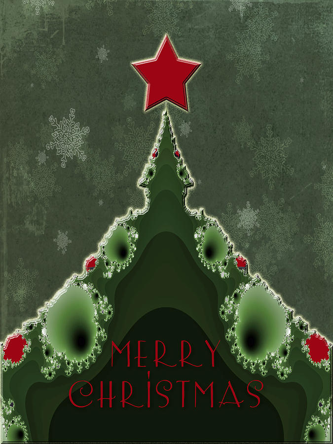 Merry Christmas Greeting Tree And Star Fractal